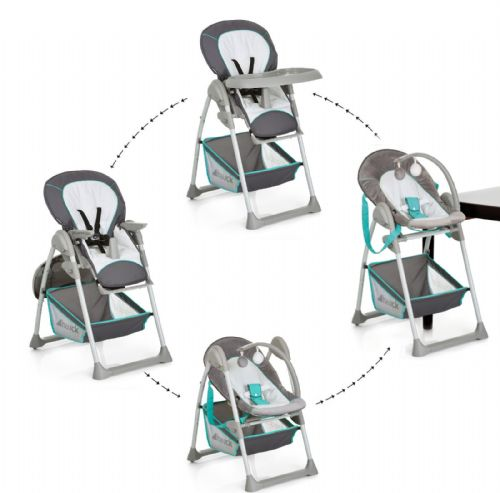 NEW Hauck Hearts Sit n Relax 2 IN1 Highchair Baby Feeding Highchair+Bouncer Grey